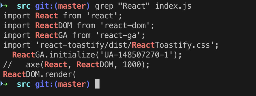 Using the grep command to find all React keywords in a file